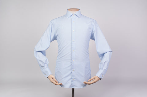 Smyth and Gibson Non-Iron Pique Dobby Stripe Contemporary Fit Shirt in Sky Blue