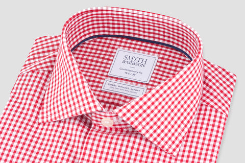 Smyth and Gibson Non Iron Gingham Dobby Contemporary Fit Shirt in Red - Smyth & Gibson Shirts