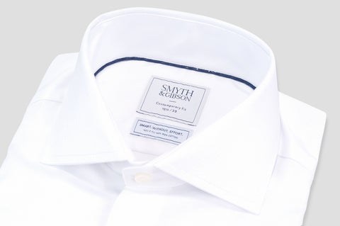 Smyth and Gibson Non Iron Herringbone Twill Contemporary Fit Shirt in White - Smyth & Gibson Shirts