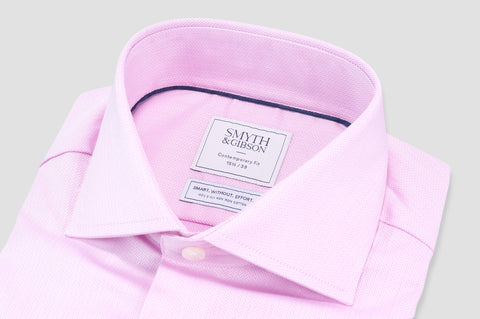 Smyth and Gibson Non Iron Herringbone Twill Contemporary Fit Shirt in Pink - Smyth & Gibson Shirts