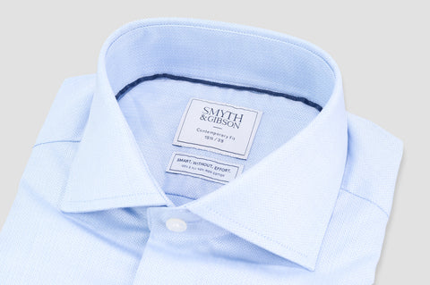 Smyth and Gibson Non Iron Herringbone Twill Contemporary Fit Shirt in Sky Blue