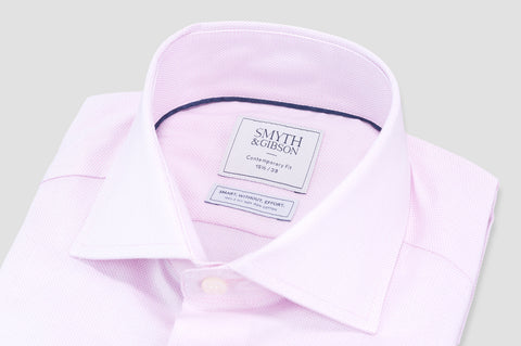 Smyth and Gibson Non Iron Micro Pique Dashes Contemporary Fit Shirt in Pink - Smyth & Gibson Shirts