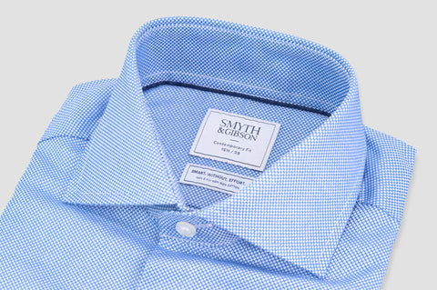 Smyth and Gibson Non Iron Textured Dobby Contemporary Fit Shirt in Blue - Smyth & Gibson Shirts