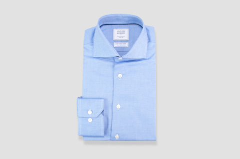 Smyth and Gibson Non Iron Textured Dobby Contemporary Fit Shirt in Blue