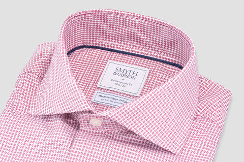 Smyth and Gibson Non Iron Textured Check Contemporary Fit Shirt in Red - Smyth & Gibson Shirts