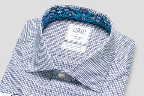 Smyth & Gibson S.W.E. Non Iron Textured Check Contemporary Fit Shirt in Navy with Liberty Trim