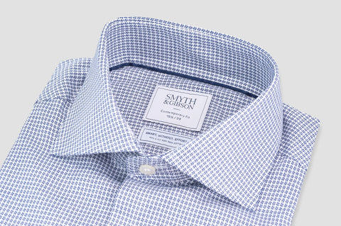 Smyth and Gibson Non Iron Textured Check Contemporary Fit Shirt in Navy - Smyth & Gibson Shirts