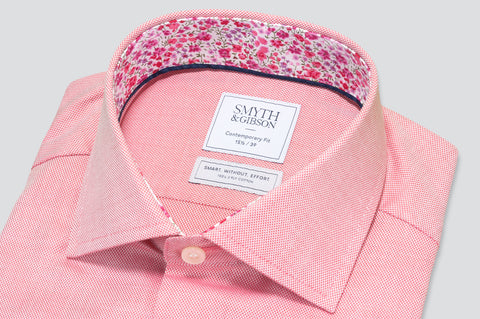 Smyth & Gibson S.W.E. Textured Plain Shirt in Red with Liberty Floral Contrast Collar
