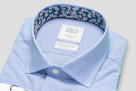 Smyth & Gibson S.W.E. Grid Check with Liberty Contrast in Blue - Smyth & Gibson Shirts