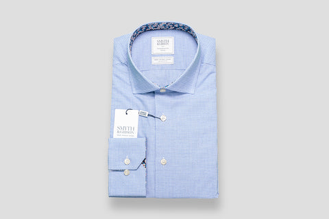 Smyth & Gibson S.W.E. Grid Check with Liberty Contrast in Blue