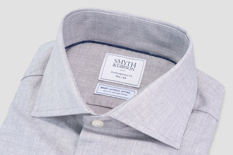 Smyth & Gibson S.W.E. Non Iron Herringbone Twill Contemporary Fit Shirt in Grey - Smyth & Gibson Shirts