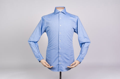 Smyth & Gibson S.W.E. Non Iron Peached Twill Cotton Contemporary Fit Shirt in Blue
