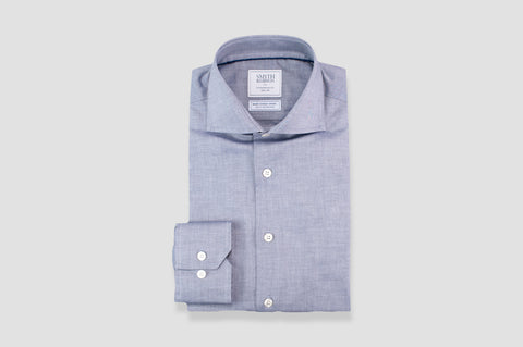 Smyth & Gibson S.W.E. Non Iron Peached Twill Cotton Contemporary Fit Shirt in Grey