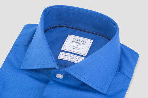 Smyth and Gibson Non Iron Herringbone Twill Contemporary Fit Shirt in Blue