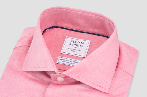 Smyth & Gibson S.W.E. Non Iron Peached Twill Cotton Contemporary Fit Shirt in Pink - Smyth & Gibson Shirts