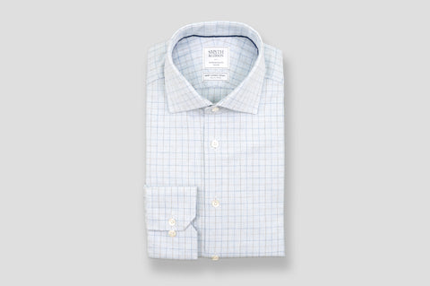 Smyth & Gibson S.W.E. Brushed Cotton Houndstooth Check Shirt in Blue