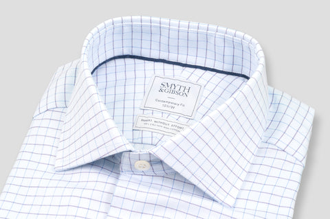 Smyth & Gibson S.W.E. Herringbone Grid Check Shirt in Blue - Smyth & Gibson Shirts
