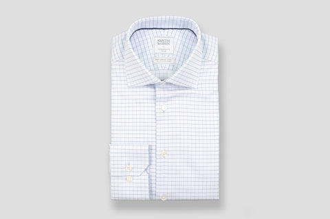 Smyth & Gibson S.W.E. Herringbone Grid Check Shirt in Blue