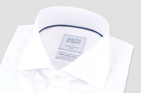 Smyth & Gibson S.W.E. Non Iron Plain Poplin Double Cuff Contemporary Fit Shirt in White - Smyth & Gibson Shirts
