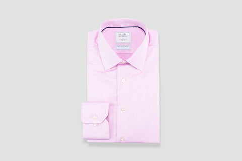 Smyth & Gibson Non-Iron Herringbone Twill Contemporary Fit Shirt in Pink