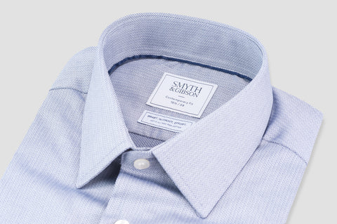 Smyth and Gibson Non Iron Herringbone Twill Penny Square Collar Contemporary Fit Shirt in Navy - Smyth & Gibson Shirts