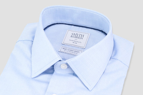 Smyth and Gibson Non Iron Herringbone Twill Penny Square Collar Contemporary Fit Shirt in Sky Blue - Smyth & Gibson Shirts