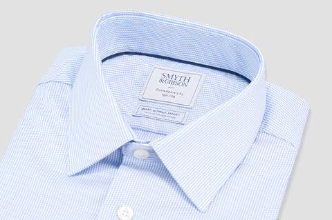 Smyth and Gibson Non Iron Dobby Stripe Contemporary Fit Shirt in Sky Blue - Smyth & Gibson Shirts