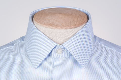 Smyth and Gibson Non Iron Dobby Stripe Slim Fit Shirt in Sky Blue