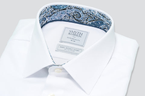 Smyth & Gibson S.W.E. Textured Weave Shirt in White with Liberty Floral Contrast Collar
