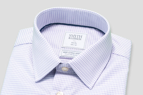 Smyth & Gibson S.W.E. Twisted Gingham Slim Fit Shirt in Lilac - Smyth & Gibson Shirts