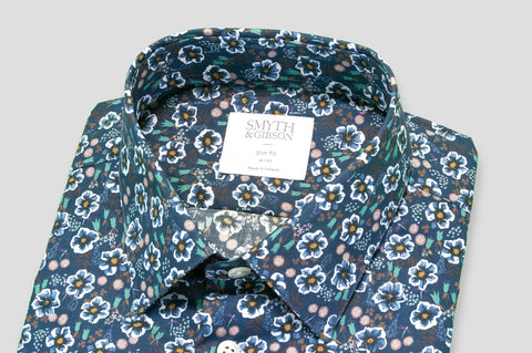 Smyth & Gibson Daisy Print Slim Fit Shirt in Navy - Smyth & Gibson Shirts