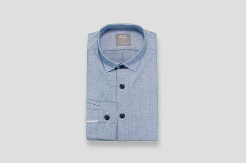 Smyth & Gibson Oxford Selvedge Tailored-Short Fit Shirt in Blue