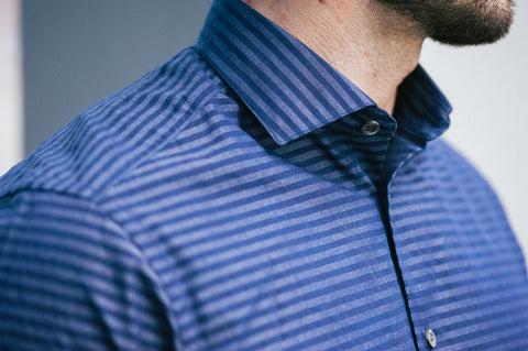 Smyth & Gibson Barre Stripe Denim Tailored-Short Fit Shirt in Navy - Smyth & Gibson Shirts