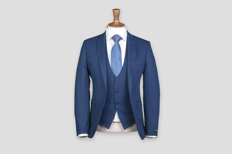 Remus Uomo Slim Fit Wool-Blend Stretch Geometric 3 Piece Suit in Dark Blue - Smyth & Gibson Shirts