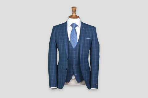 Remus Uomo X-Slim Fit Checked Wool-Blend Stretch Mix & Match Suit Waistcoat