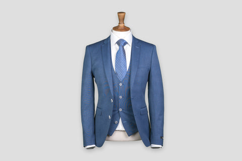 Remus Uomo X-Slim Fit Pinstripe Wool-Rich 3 Piece Suit in Blue - Smyth & Gibson Shirts