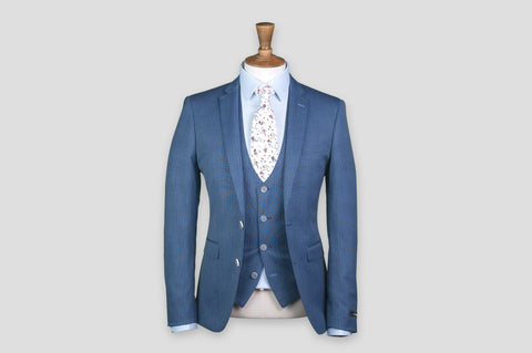 Remus Uomo X-Slim Fit Pinstripe Wool-Rich 3 Piece Suit in Blue