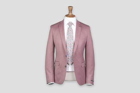 Remus Uomo Slim Fit Cotton-Blend Mix & Match Suit Jacket in Pink - Smyth & Gibson Shirts