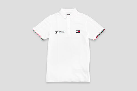 Tommy Hilfiger x Mercedes Benz Cotton Polo Shirt in White - Smyth & Gibson Shirts