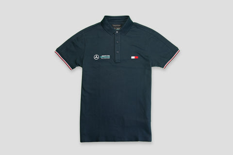 Tommy Hilfiger x Mercedes Benz Cotton Polo Shirt in Navy - Smyth & Gibson Shirts