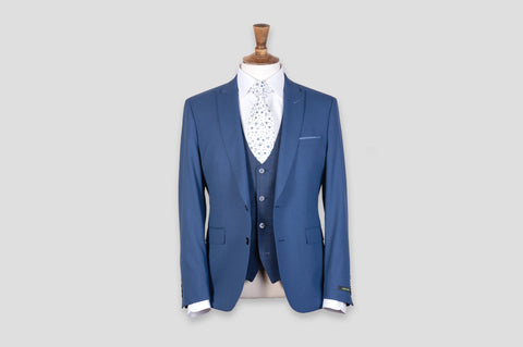 Remus Uomo Slim Fit Stretch 3 Piece Suit in Blue - Smyth & Gibson Shirts