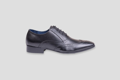 Remus Uomo Leather Wingtip Brogue Oxford Shoe in Navy