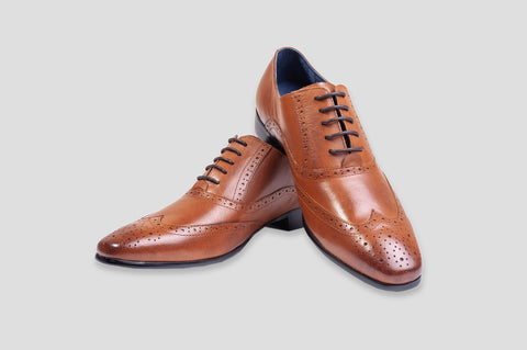 Remus Uomo Leather Wingtip Brogue Oxford Shoe in Tan - Smyth & Gibson Shirts