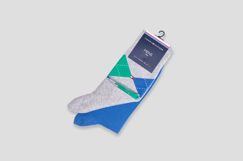 Tommy Hilfiger 2-Pack Argyle Socks in Blue & Green/Grey