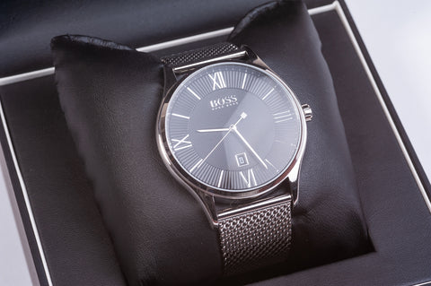 Boss Stainless Steel Quartz Watch with Mesh Bracelet