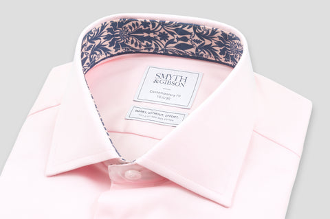 Smyth & Gibson S.W.E. Twill Shirt in Pink with Liberty Contrast - Smyth & Gibson Shirts