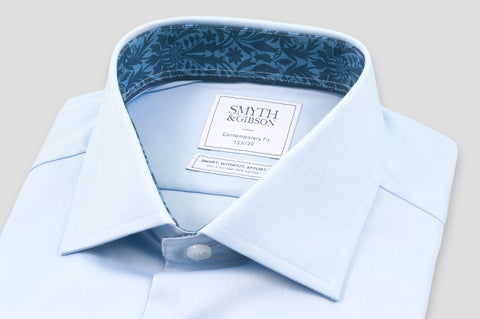 Smyth & Gibson S.W.E. Twill Shirt in Blue with Liberty Contrast - Smyth & Gibson Shirts