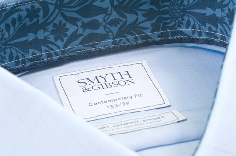 Smyth & Gibson S.W.E. Twill Shirt in Blue with Liberty Contrast