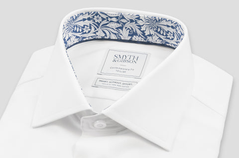 Smyth & Gibson S.W.E. Twill Shirt in White with Liberty Contrast - Smyth & Gibson Shirts
