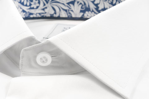 Smyth & Gibson S.W.E. Twill Shirt in White with Liberty Contrast